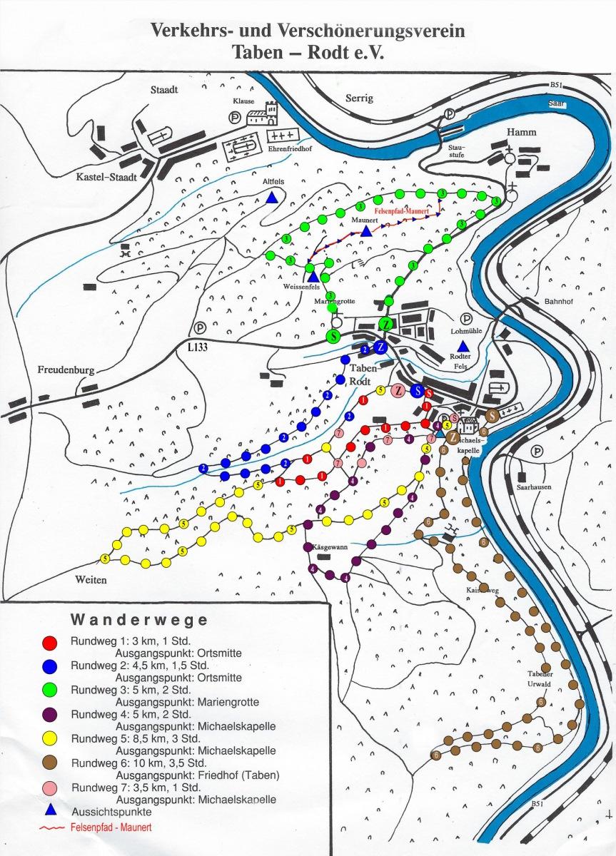 Wanderkarte Taben-Rodt, 6 Rundwanderwege + Felsenpfad (Stand 2020)