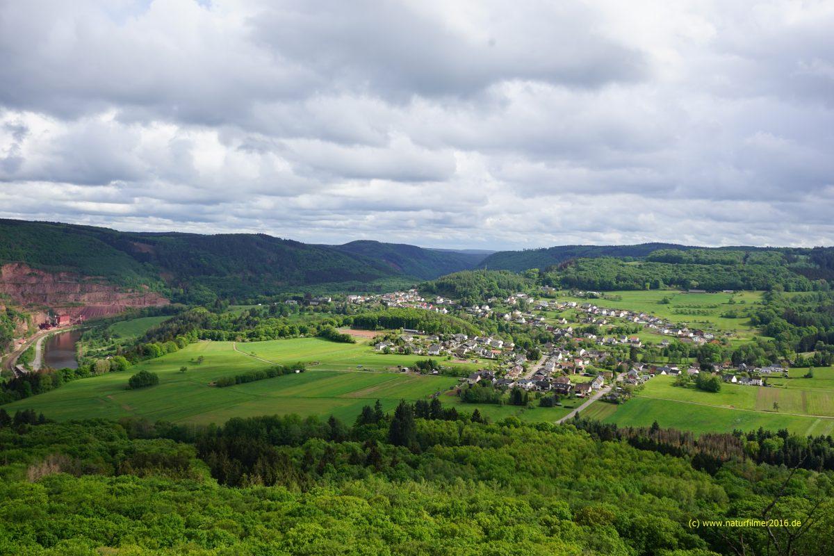 Blick vom Gipfelkreuz Maunert auf Taben-Rodt (1.5.2020)