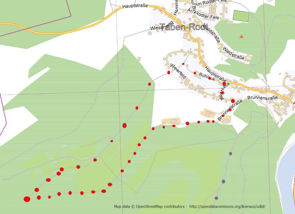 Taben-Rodt Rundwanderweg 1, Streckenverlauf