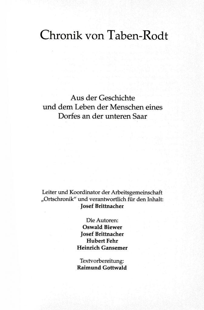 Ortschronik von Taben-Rodt - Verfasser