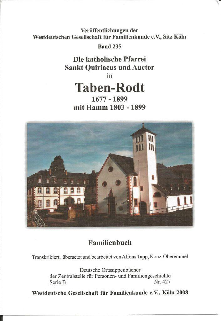 Familienbuch Taben-Rodt - Titelseite
