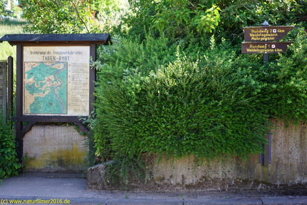 Taben-Rodt, Rundwanderweg Nr. 1, Hinweistafel am Parkplatz bei Jugend- und Bürgerhaus (Hauptstr. 21)