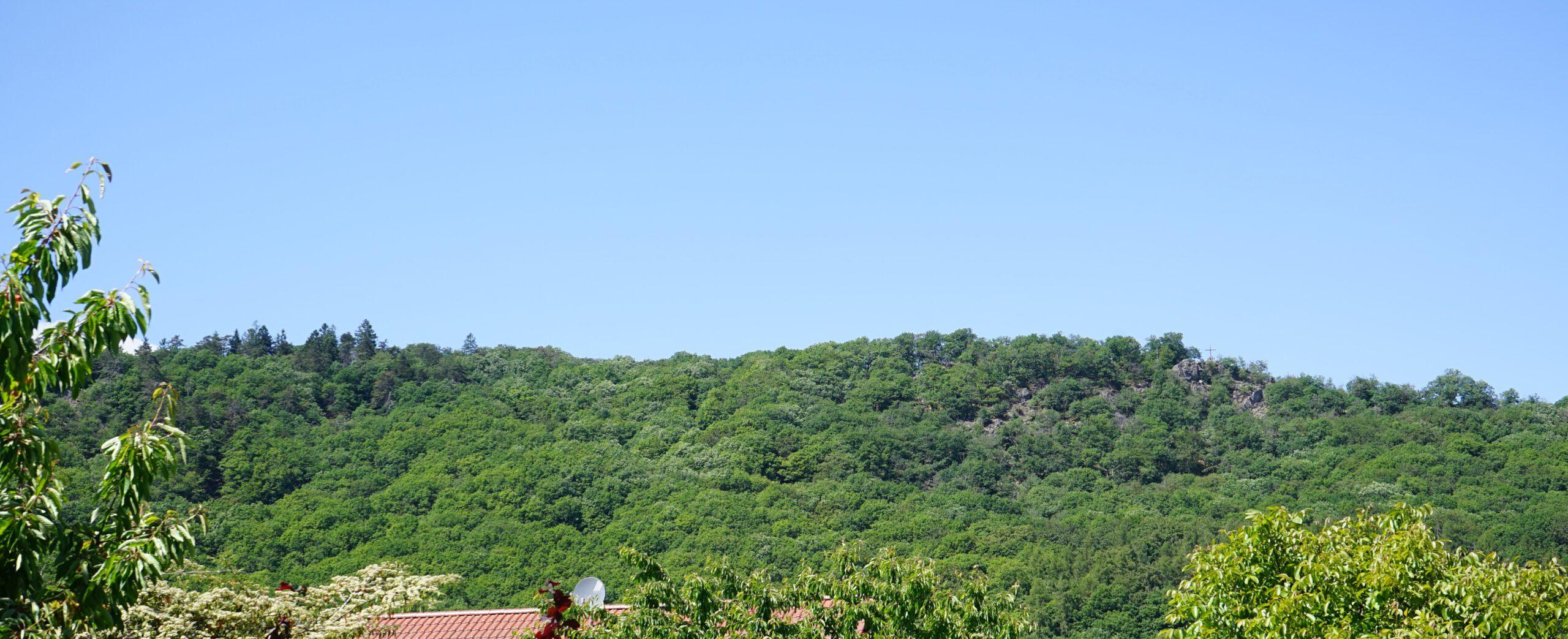 Taben-Rodt, Blick auf Maunert mit Gipfelkreuz (Begehbar über den Felsenpfad Maunert-Grat)